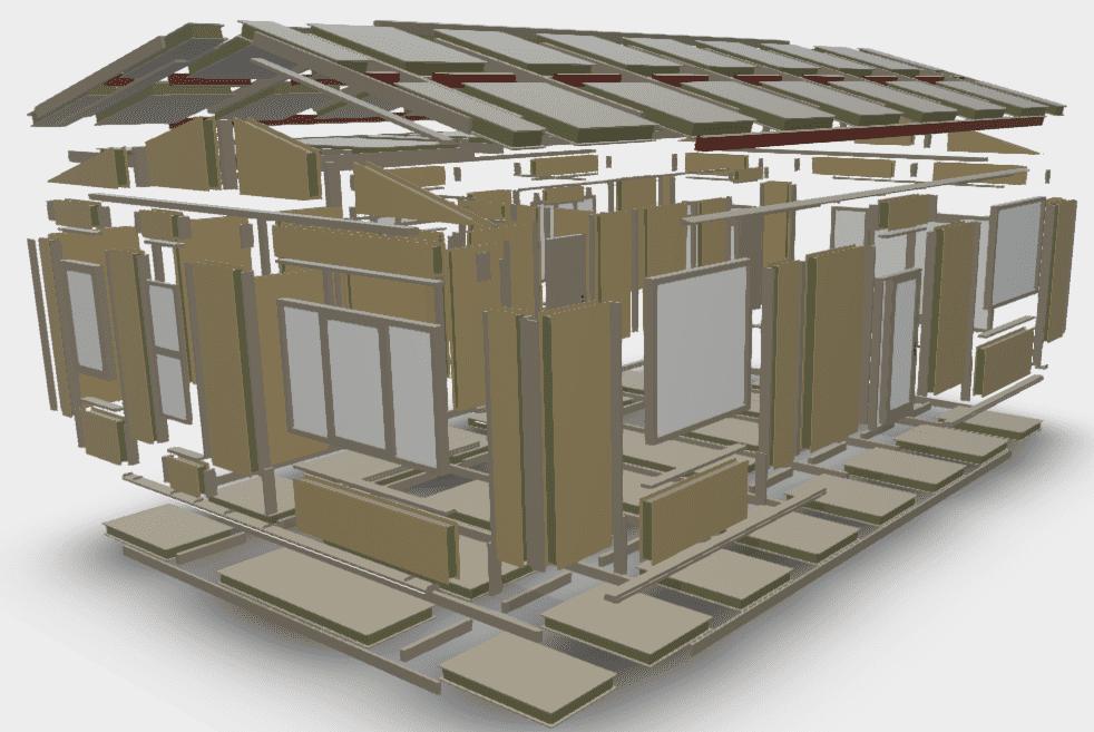 Vakantiewoning 2, elementen BIM model