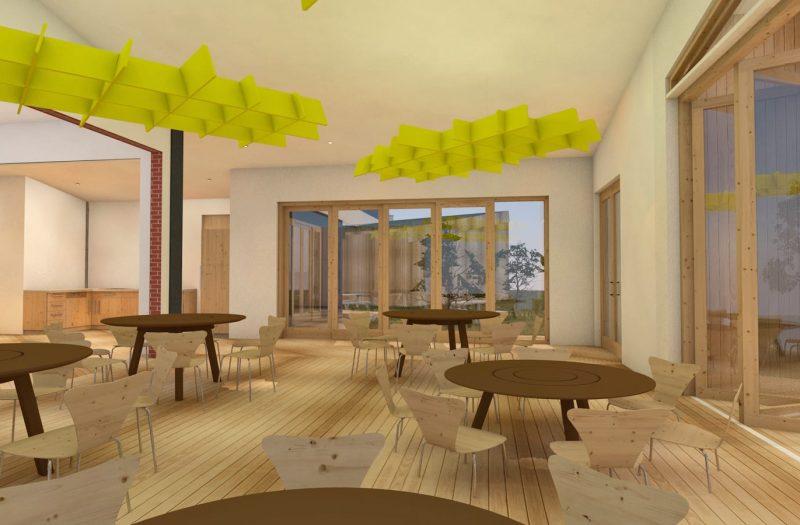 08 Kindcentrum Kolham Rendering 02 Gemeenschappelijke ruimte, lunch, keuken